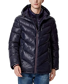 Men's Chevron Hooded Puffer Jacket with Attached Bib