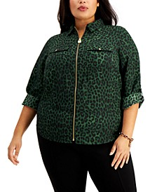 Plus Size Animal-Print Zip-Front Top