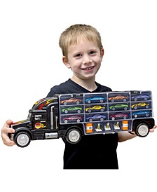 Mag-Genius Mega Car Carrier Tractor Trailer with 6 Cars and Accessories Toy