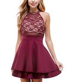Juniors' Illusion Lace A-Line Dress