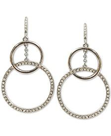 INC Silver-Tone Pavé Interlocking Hoop Drop Earrings, Created for Macy's