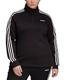 Essentials Women's Plus Size 3 Stripe Fleece Quarter-Zip