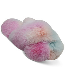 Jenni Women's Tie-Dyed Faux-Fur Crossband Slippers, Created for Macy's