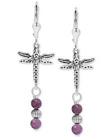 Rhodonite Dragonfly Drop Earrings in Sterling Silver