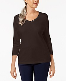Cotton Embellished V-Neck Top, Created for Macy's