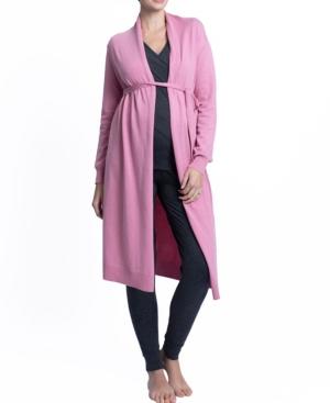 Maternity Long Knit Wool Blend Cardigan