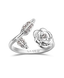 Crystal Rose Flower Bypass Ring