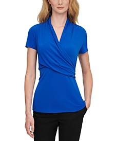 Short-Sleeve Side-Ruched Top
