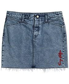 Frayed-Hem Denim Magnetic Skirt