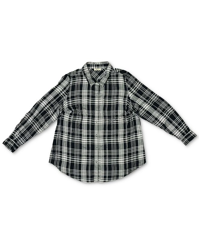 Style & Co Plus Size Plaid Boyfriend Shirt, Created For Macy's