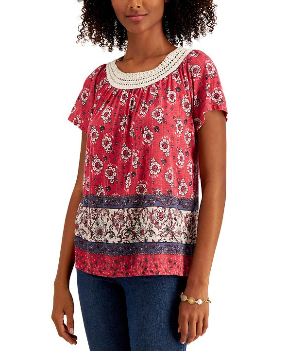 Style & Co Crochet-Trim Printed Top, Created for Macy's