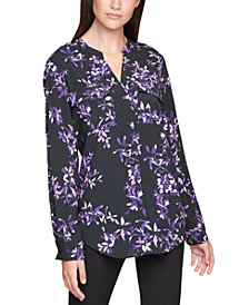 Calvin Klein Plus Size Printed Roll-Sleeve Top