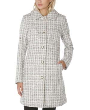 Laundry By Shelli Segal LAUNDRY BY SHELLI SEGAL SINGLE-BREASTED TWEED WALKER COAT