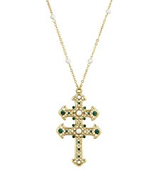 14K Gold Dipped Green and Imitation Pearl Double Cross Necklace