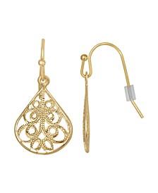Gold-Tone Filigree Drop Earring