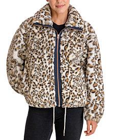Lucky Brand Leopard-Print Faux-Fur Coat