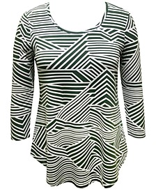 Plus Size Abstract-Stripe Top, Created for Macy's