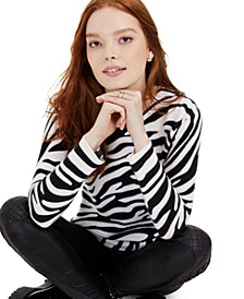 Cashmere Zebra-Print Sweater, Regular & Petite Sizes, Created for Macy's