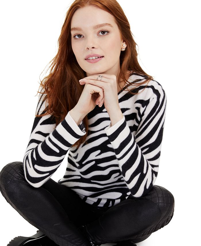 Charter Club - Petite Cashmere Zebra-Print Sweater