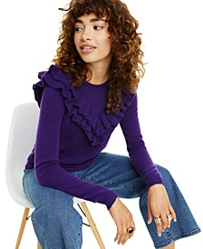 Cashmere Ruffle-Trim Sweater, Regular & Petite Sizes, Created for Macy's