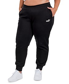 Solid Plus Size Fleece Jogger Pants
