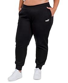 Solid Plus Size Fleece Jogger Pants
