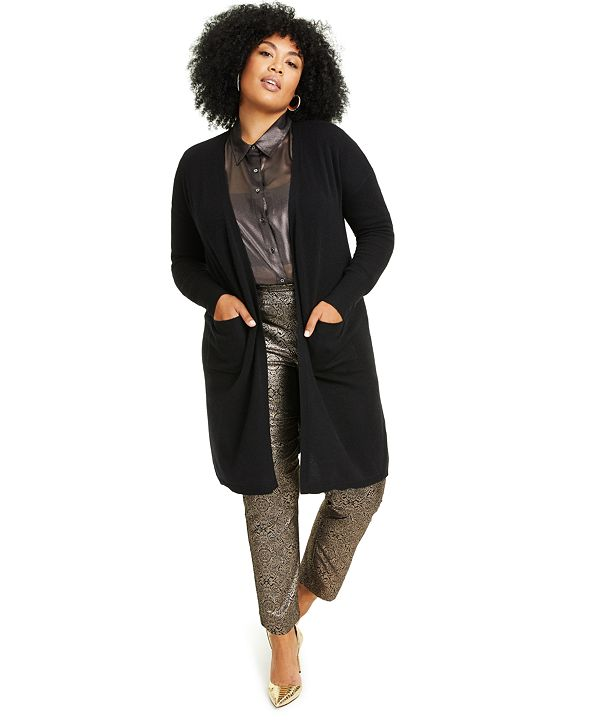 Charter Club Plus Size Cashmere Open-Front Cardigan, Created for Macy's