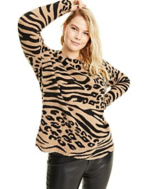 Plus Size Cashmere Animal-Print Sweater, Created for Macy's