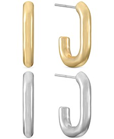 Two-Tone 2-Pc. Set Sculptural Open Hoop Earrings, Created for Macy's