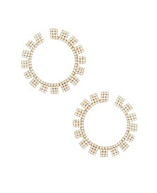 18K Gold Crystal Sunbeam Women's Earrings