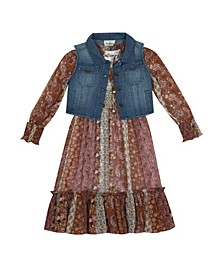 Big Girl Printed Smock Dress With Denim Vest