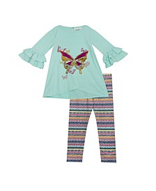 Toddler Girl Knit Set with Butterfly Applique