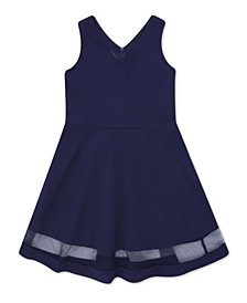 Big Girl Neck Neck Mesh Hem Dress