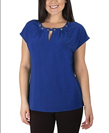 Women's Plus Size Cap Sleeve Grommeted Top