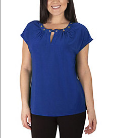 NY Collection Women's Plus Size Cap Sleeve Grommeted Top