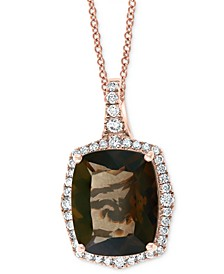 "EFFY® Smoky Quartz (4-5/8 ct. t.w.) & Diamond (1/4 ct. t.w.) 18"" Pendant Necklace in 14k Rose Gold"