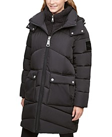 Faux-Sherpa-Lined Hooded Puffer Coat