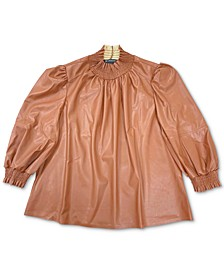 I.N.C. Plus Size Faux-Leather Mock-Neck Top, Created for Macy's