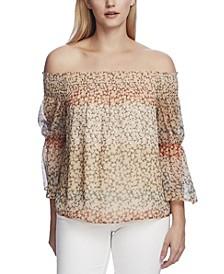 Women's Off Shoulder Smocked Blouse Top