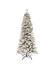"7.5"" Pre-Lit Flocked Slim Montville Spruce Artificial Christmas Tree"