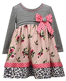Toddler Girl Long Sleeve Mix Printed Babydoll With Bow Detail
