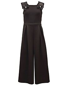Big Girl Sleeveless Scuba Jumpsuit With Pleated Front And Rhinestone Centered Bows