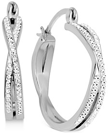 Crystal Small Crossover Hoop Earrings, 0.95""