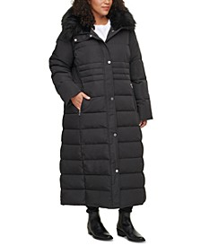 Plus Size Faux-Fur-Trim Hooded Maxi Puffer Coat
