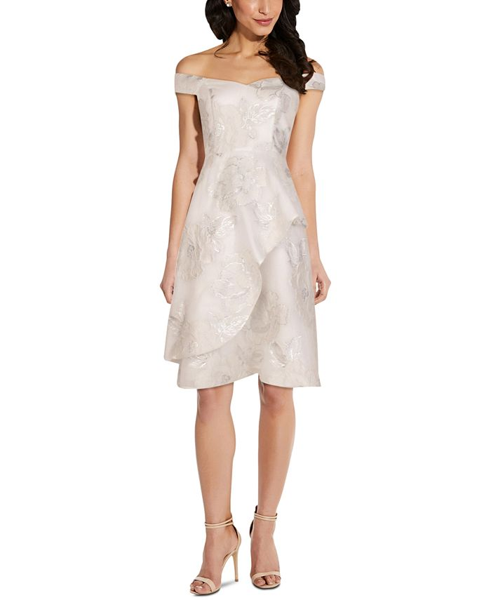 Adrianna Papell - Off-The-Shoulder Organza Fit & Flare Dress