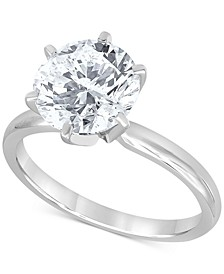 Diamond (3 ct. t.w.) Solitaire Engagement Ring in 14K White Gold