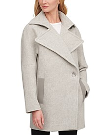 Asymmetrical Faux-Leather-Trim Peacoat