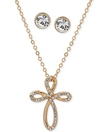 Gold-Tone Pavé Cross Pendant Necklace & Crystal Stud Earrings Set