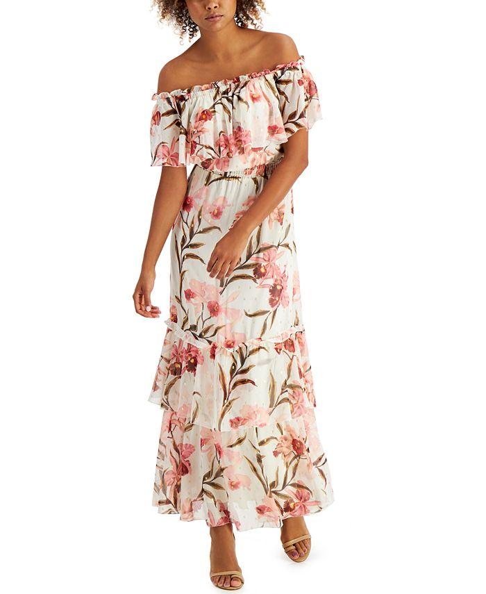 INC International Concepts - Elizabeth Make A Wish Off-The-Shoulder Maxi Dress