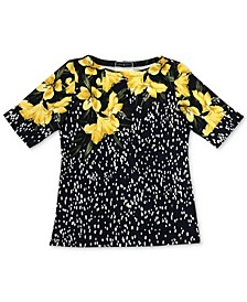 Plus Size Mixed-Print Boat-Neck Top, Created for Macy's
